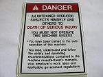 Warning Decal - Danger Untrained Operator
